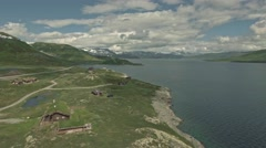 Amazing aerial view of scenic Norway islands, Vang, Oppland Stock Footage