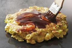 Okonomiyaki with prawns (Japan) Stock Photos