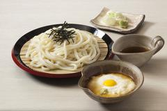 Tororo Udon with grated yam and egg (Japan) Stock Photos