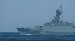 Small missile boats Russia with missiles Caliber Stock Footage