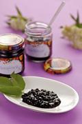Homemade Hollerkoch (stewed elderberries and damsons) Stock Photos