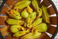 Fresh courgette flowers from Pennsylvania, USA Stock Photos