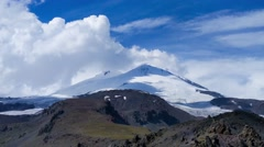 Mount Elbrus, Floating Clouds, Time-lapse 4K Stock Footage