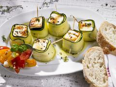 Feta and courgette rolls Stock Photos