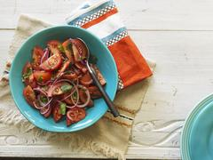 Hacienda salad (tomato salad with onions and coriander, Chile) Stock Photos