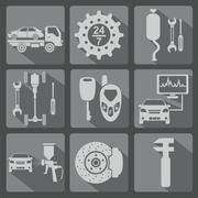 Set of car service icons Stock Illustration