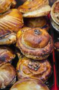 Alsatian Tourte Au Riesling pies in a delicatessen Stock Photos
