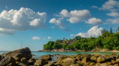 Laem sing beach rock hill sky coastline panorama 4k time lapse thailand Stock Footage
