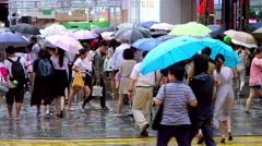 CROWD PEDESTRIANS UMBRELLA KOWLOON HONG KONG CHINA Stock Footage
