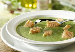 Spinach soup with salmon Stock Photos