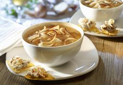 Onion soup with tortilla chips Stock Photos