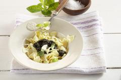 Fleckerl (Austrian pasta) with pumpkin seed pesto Stock Photos