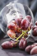 Red grapes in an overturned wine glass Stock Photos