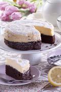Lemon cheesecake with chocolate bases Stock Photos