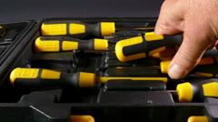 Man's hand choosing screwdrivers. Stock Footage