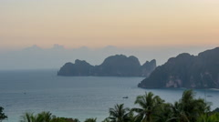 Sunset famous ko phi phi don view point island panorama 4k time lapse thailand Stock Footage