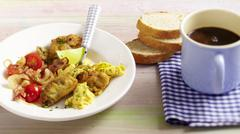 Hangtown Fry (omelette with ham and oysters, USA) Stock Photos