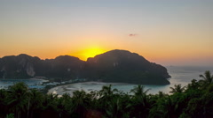 Summer sunset koh phi phi island viewpoint panorama 4k time lapse thailand Stock Footage