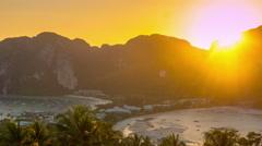 Sunset ko phi phi island famous viewpoint panorama 4k time lapse thailand Stock Footage