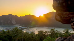 Famous ko phi phi island viewpoint sunset panorama 4k time lapse thailand Stock Footage