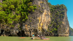 Summer day famous james bond island front boat 4k time lapse thailand Stock Footage