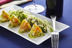 Vegetable aspic with salad and pumpkin seed oil Stock Photos