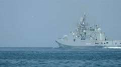 Russia's newest frigate, armed with caliber rockets Stock Footage