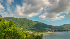 Phuket summer day coastline bay viewpoint panorama 4k time lapse thailand Stock Footage
