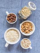 Overhead view of ingredients for making non dairy vegan milks Stock Photos