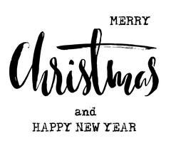 Black and White Grunge Christmas lettering. New Year Typewriter lettering. Brush Stock Illustration