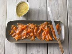 Cured salmon with a mustard and dill sauce Stock Photos