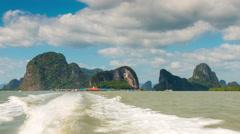 Summer seafarers village motor boat ride panorama 4k time lapse thailand Stock Footage
