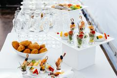 Catering food wedding, white beautiful table-3 Stock Photos