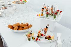 Catering food wedding, white beautiful table-4 Stock Photos