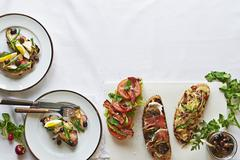 Tartines , sandwiches on French. Stock Photos