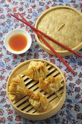 Fried wontons with chilli sauce Stock Photos