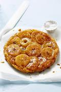 Tarte Tatin caramelized upside-down apple tart Stock Photos