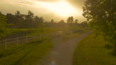 AERIAL: Flying over the path and green grass fields into the dramatic sunrise Stock Footage