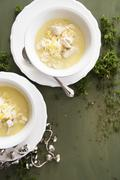 Greek chicken soup with rice Stock Photos