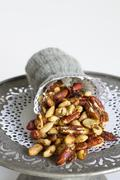 Sweet and spicy nuts Stock Photos