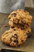 Oat and walnut biscuits with raisins Stock Photos