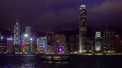 NIGHT SKYSCRAPER SKYLINE FERRIES HONG KONG CHINA Stock Footage