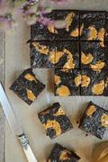 Millet brownies with peanut butter Stock Photos