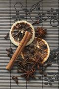 Winter spices on a bamboo mat Stock Photos