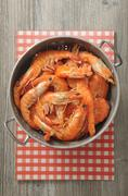 Fresh prawns in a colander Stock Photos