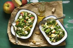 Apple and Roquefort salad with walnuts Stock Photos