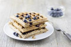 Coconut flour waffles and coconut milk with blueberries (low carb) Stock Photos