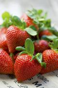 Overall of strawberries Stock Photos