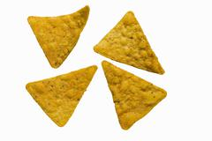 Four ranch tortilla chips with a smoky flavour Stock Photos