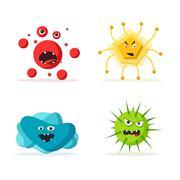 Set of bacteria characters. Cartoon vector illustration. Microbiology Stock Illustration